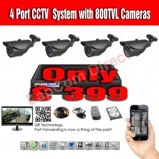 4 Port CCTV System with 800TVL Cameras