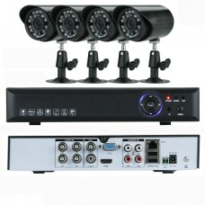 4CH Home Security System with Outdoor 900TVL Cameras